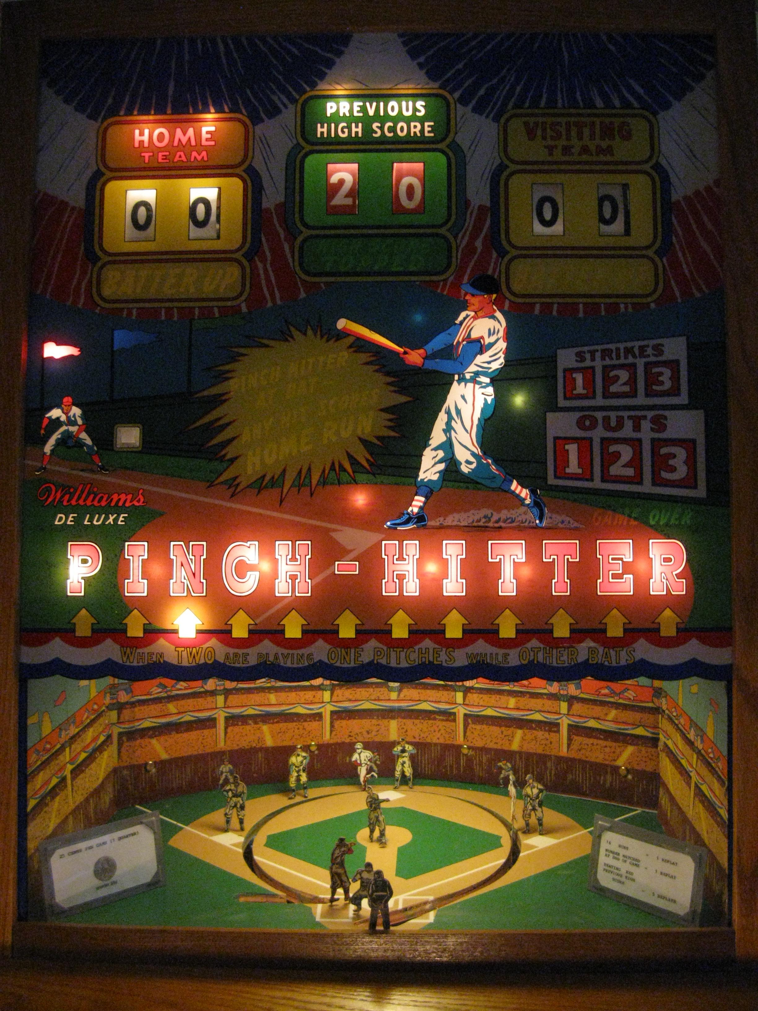 Pinch-Hitter Baseball by Williams 1959 - Click Image to Close
